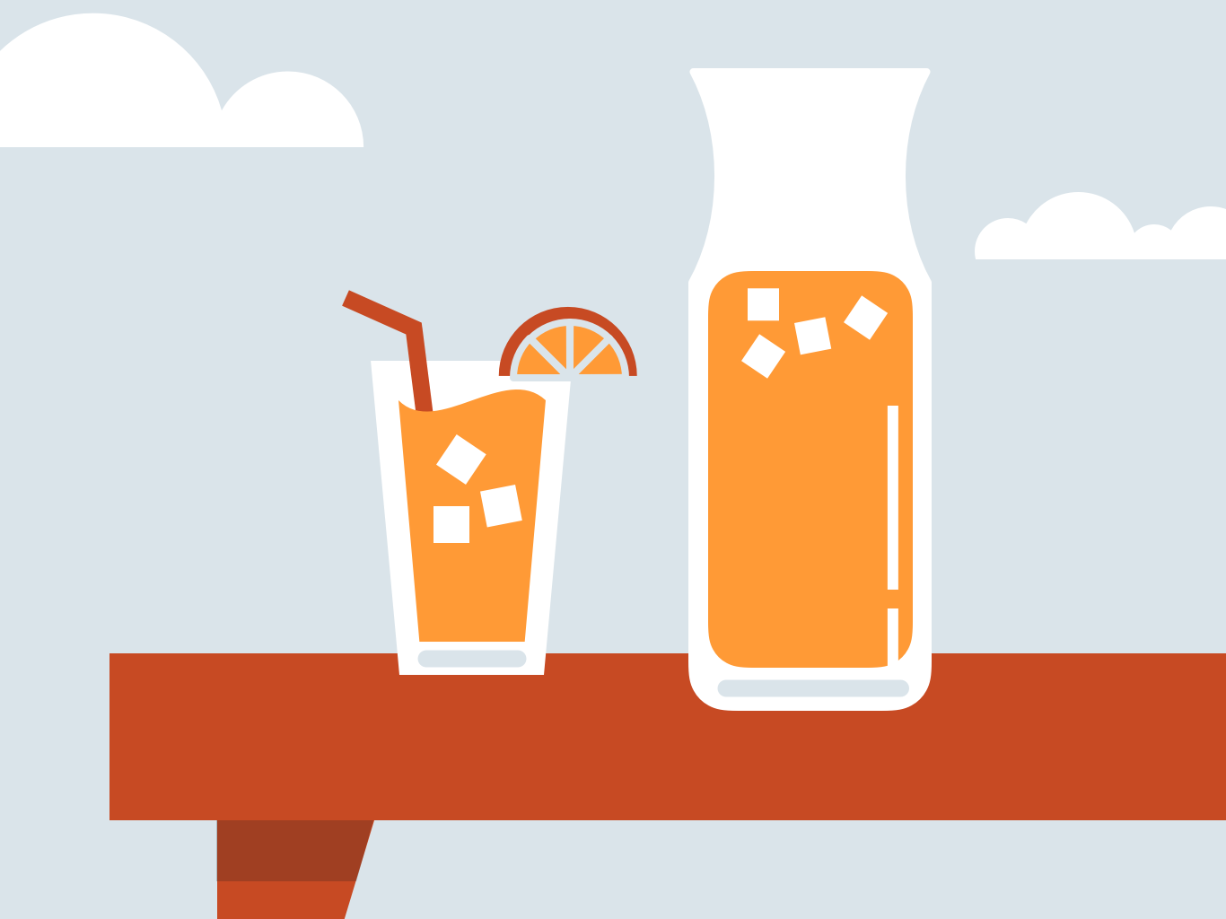 Iced tea on a table outside—illustration © CU Green 2018
